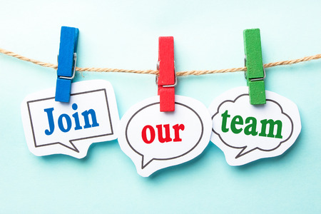join: Join our team concept paper speech bubbles with line on the light blue background.