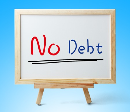 bank records: Whiteboard with text No Debt is on the blue background.