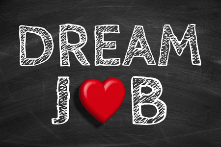 find a job: Text Dream Job is written on the blackboard background.