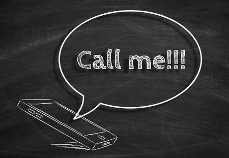 call me: Call me concept drawing on the chalkboard.