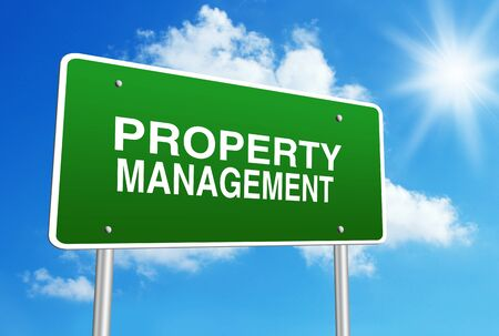 property management: Green road sign with text Property Management is in front of the blue sunny background.