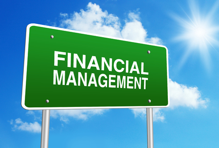 financial management: Green road sign with text Financial Management is in front of the blue sunny background.