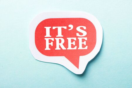 free speech: It is Free speech bubble is isolated on the blue background. Stock Photo