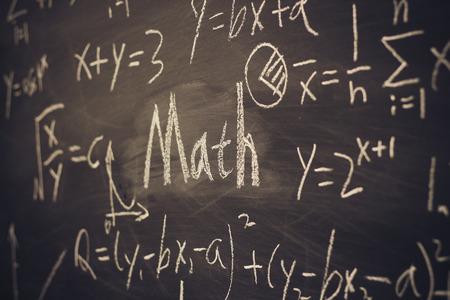 math symbols: Math text with some maths formulas on chalkboard background.