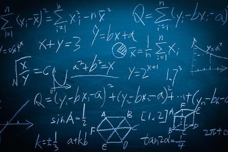 Maths formulas written by white chalk on the chalkboard background.