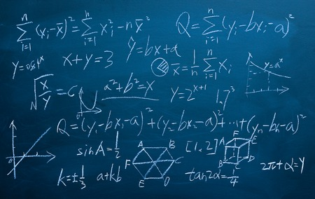 Maths formulas written by white chalk on the chalkboard background.