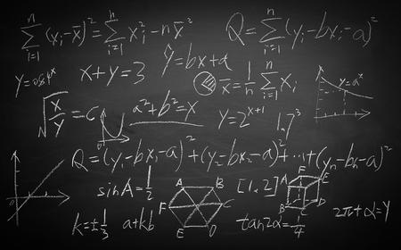 Maths formulas written by white chalk on the blackboard background.