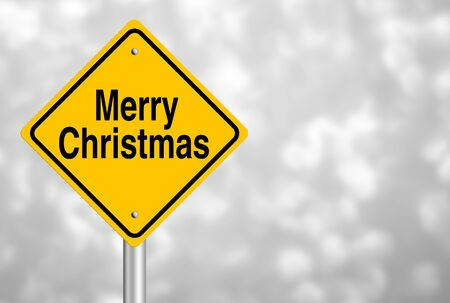 country christmas: Merry Christmas road sign with beautiful bokeh background. Stock Photo