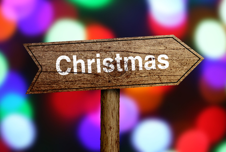 Christmas ahead road sign with beautiful bokeh background.