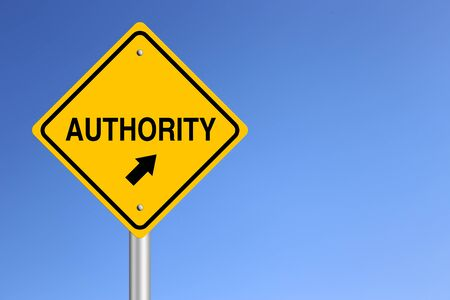 Authority Road Sign with clear blue sky background.