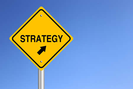 clear strategy: Strategy Road Sign with clear blue sky background. Stock Photo