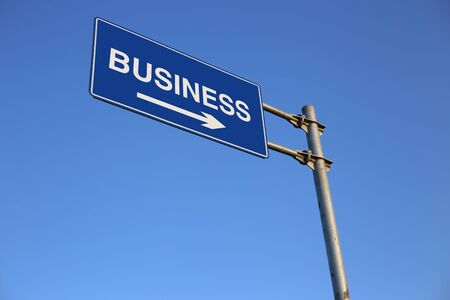 strategic advantage: Business Road Sign with clear blue sky background. Stock Photo