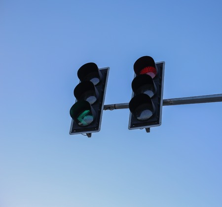 trafficlight: Traffic light with clear blue sky background. Stock Photo
