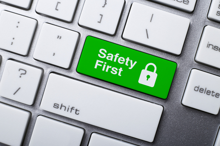 Closeup picture of Safety First button of a modern keyboard.