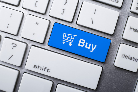 shopping cart: Closeup picture of Buy button of a modern keyboard. Stock Photo