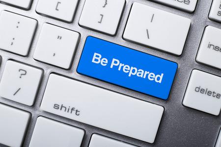 Close-up van Be Prepared knop op het toetsenbord Stockfoto