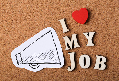 I Love My Job concept on the wooden cork background. Banque d'images