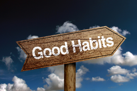 good habits: Wooden road sign with text Good Habits against blue cloudy sky.