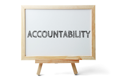 accountability: Small whiteboard with text Accountability is isolated on white background.