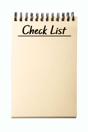cheque en blanco: Cuaderno en blanco Lista de verificación aisladas sobre fondo blanco.