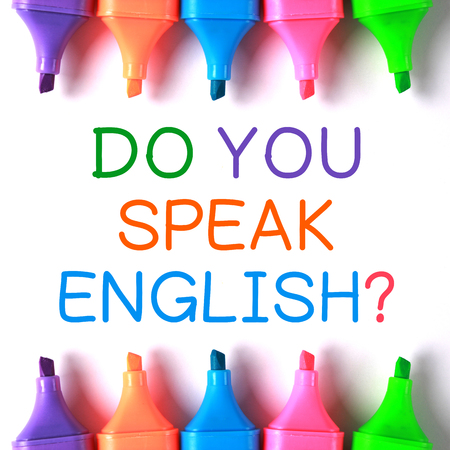 Asking the question of Do you speak English. Language concept.