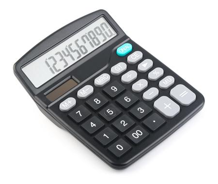 Zwarte rekenmachine is geïsoleerd op witte achtergrond.