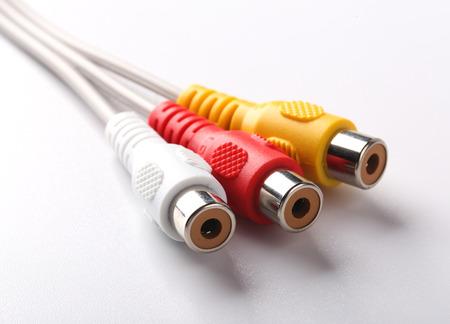 av: AV cables is isolated on white background.