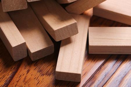 buildup: Wooden blocks are on the wooden floor.