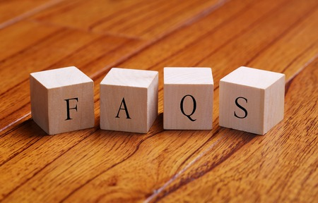 faqs: FAQS word wooden blocks are on the floor. Stock Photo