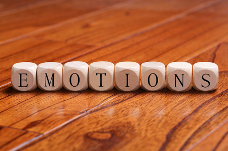 EMOTIONS word wooden blocks are on the floor.