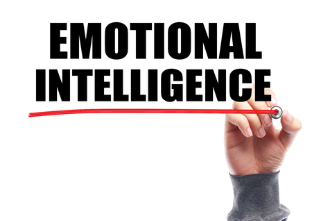 inteligencia emocional: Hand drawing the red line under the text Emotional Intelligence isolated on white.