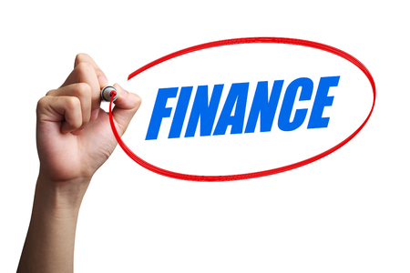 interst: Hand is drawing a red circle around the word Finance with white background.