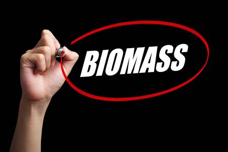 biomasa: Hand is drawing a red circle around the word Biomass with black background.
