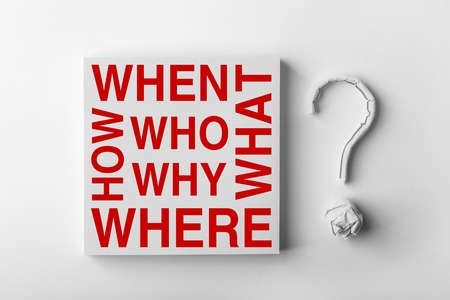 interrogative: Red interrogative words and paper question mark with white background. Stock Photo