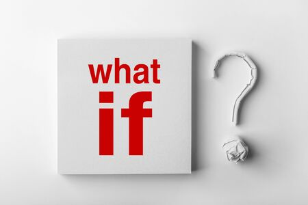 resolving: Red text What If and paper question mark with white background. Stock Photo