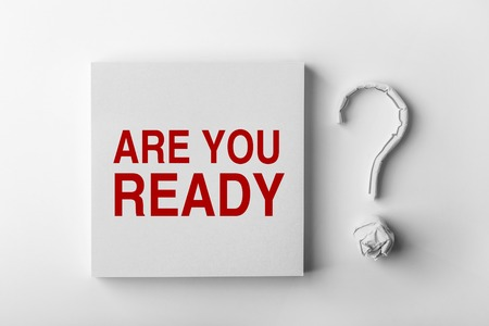 apt: Red text Are You Ready and paper question mark with white background.