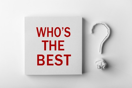 most talent: Red text Who is The Best and paper question mark with white background.