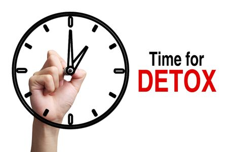 detoxing: Hand is drawing a clock with text Time For Detox Concept aside isolated on white background.