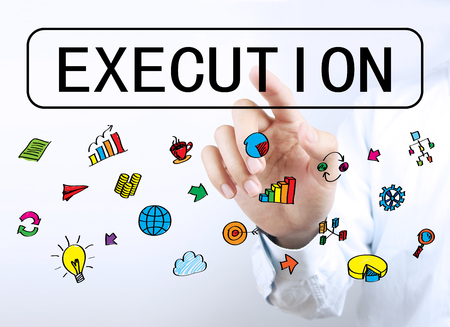 execution: Businessman is touching Execution button with some business icons aside.
