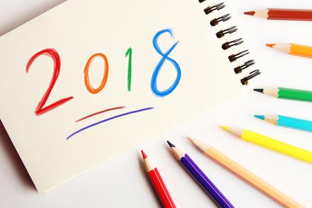 Concept nieuw jaar 2018 vooruit voor gebruikte achtergrond.