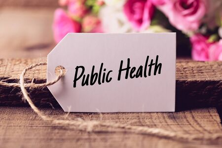 public health: Text Public Health written on white label with nice blurred flower background.