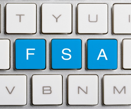 flexible business: FSA word is on the blue buttons of keyboard.