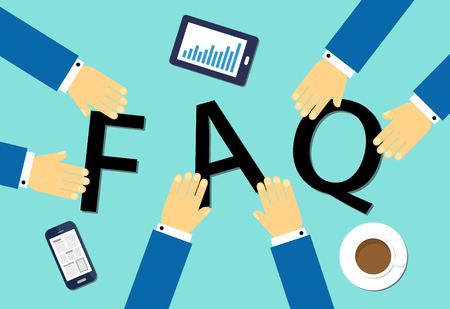 Flat design vector illustration business concept for FAQ. Çizim