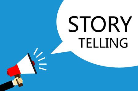 Cartoon vecteur homme d'affaires tenant le haut-parleur avec Story Telling bulle de discours sur fond bleu.