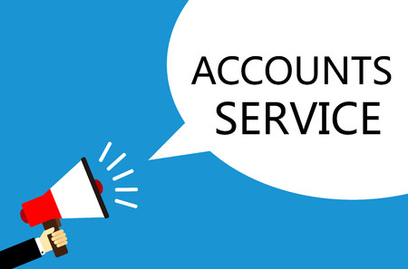 sales manager: Cartoon businessman holding the loudspeaker with Accounts Service speech bubble against blue background.