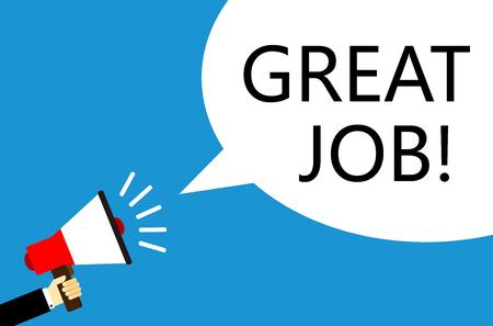 Cartoon vector zakenman die de luidspreker met Great Job speech bubble tegen blauwe achtergrond houdt.