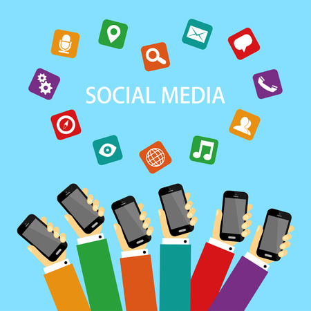 People connecting and sharing social media background of the icon.