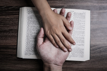 The hands of child and man on the holy bible. Stok Fotoğraf