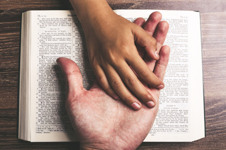 The hands of child and man on the holy bible. 免版税图像