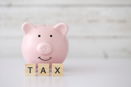 Save for tax concept with blank white copy space background.
